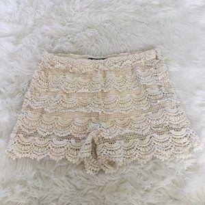 Zara Basic High Waist Lace Shorts Size Medium